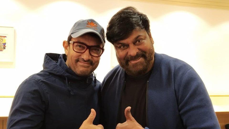 Aamir Khan meets Chiranjeevi at Kyoto airport in Japan.