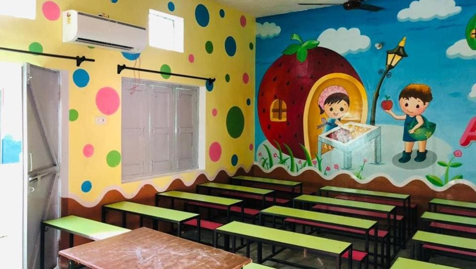 A classroom at government primary school at Chanan Wala, a remote border village in Fazilka
