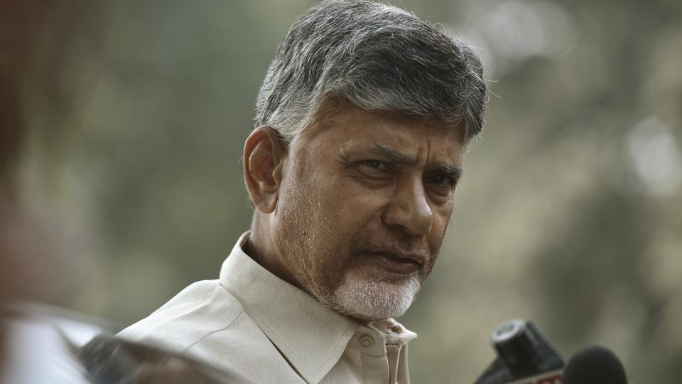 Andhra Pradesh Chief Minister N Chandrababu Naidu talks to media during a protest march demanding special status for his state from Andhra Pradesh Bhavan to Jantar Mantar in New Delhi, India, on Tuesday, February 12, 2019.