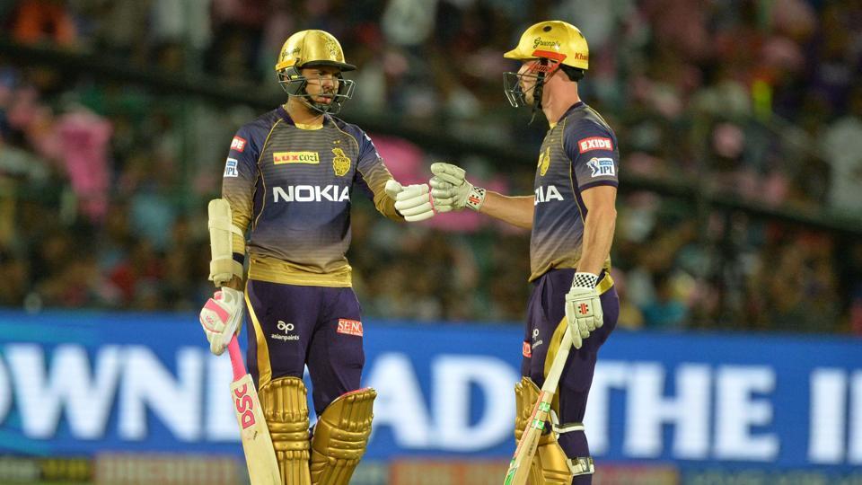 Kolkata Knight Riders' Chris Lynn (R) and Sunil Narine share a moment during their match against Rajasthan Royals.