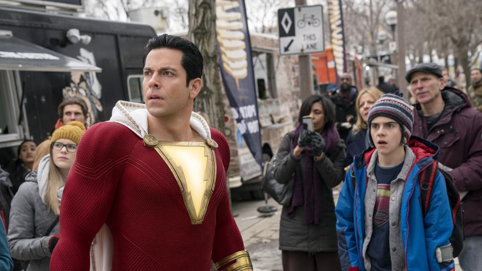 This image released by Warner Bros. shows Zachary Levi, left, and Jack Dylan Grazer in a scene from Shazam!.