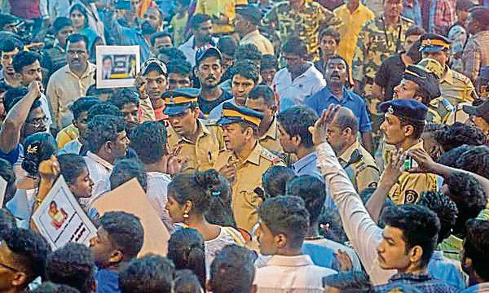 Citizens took out a rally near Juhu police station on Sunday to demand justice for the minor girl and stringent action against the accused.