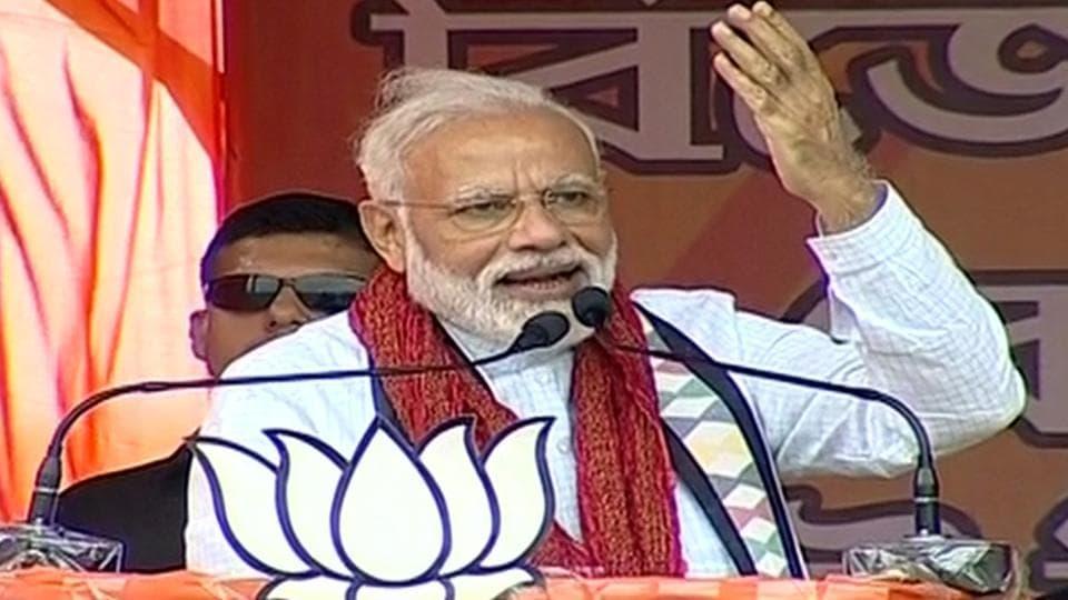 Prime minister Narendra Modi addresses a public rally in Cooch Behar on Sunday.