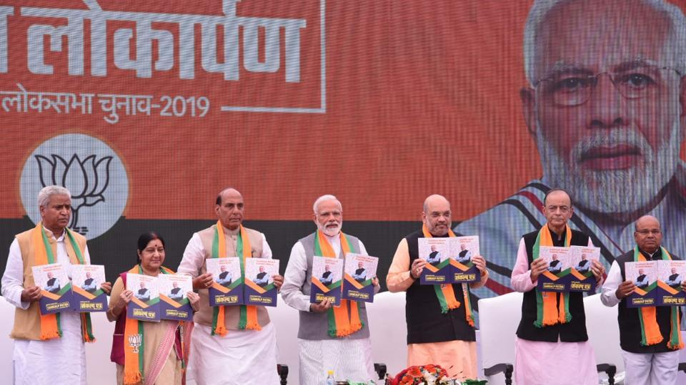 Releasing the BJP Sankalp Patra, or manifesto, for Lok Sabha elections 2019, PM Modi said the government was moving ahead with 'one mission and one direction. He said the development had to be flexible to suit the country's diversity, it had to be multi-layered and multi-directional. The party manifesto charted 75 milestones India @75 had to achieve, chief focus being on the farm sector, education, health and infrastructure. (Arvind Yadav / HTPhoto)