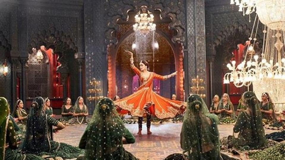Madhuri Dixit in a shot from a new song called Tabah Hogaye from Kalank, which will debut onTuesday.