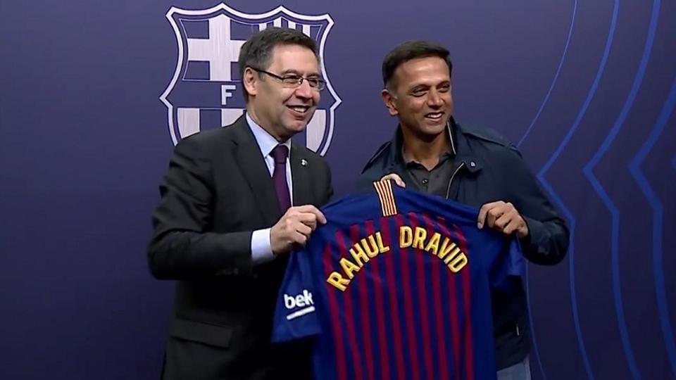 Rahul Dravid watched Barcelona beat Atletico Madrid 2-0 at Camp Nou.
