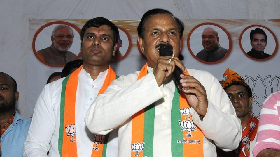 BJP's Gautam Budh Nagar candidate Dr Mahesh Sharma at public meeting, at Sector 30, in Noida,  on Sunday, April 07, 2019.