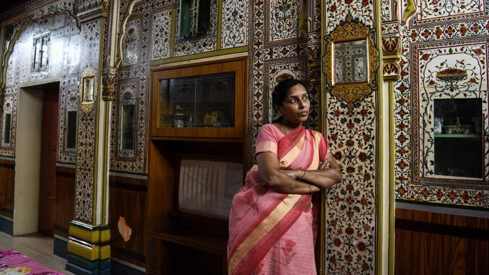 "A few families still reside in their ancestral estates and invite tourists in so they can learn about the heritage and history of the area. ""They come here and are so amazed and excited at the unique colours, heritage and design of our home,"" said Rachna Mohta, who greets visitors on walking tours in Bikaner to her palatial 150-year-old haveli home. (Chandan Khanna / AFP)"