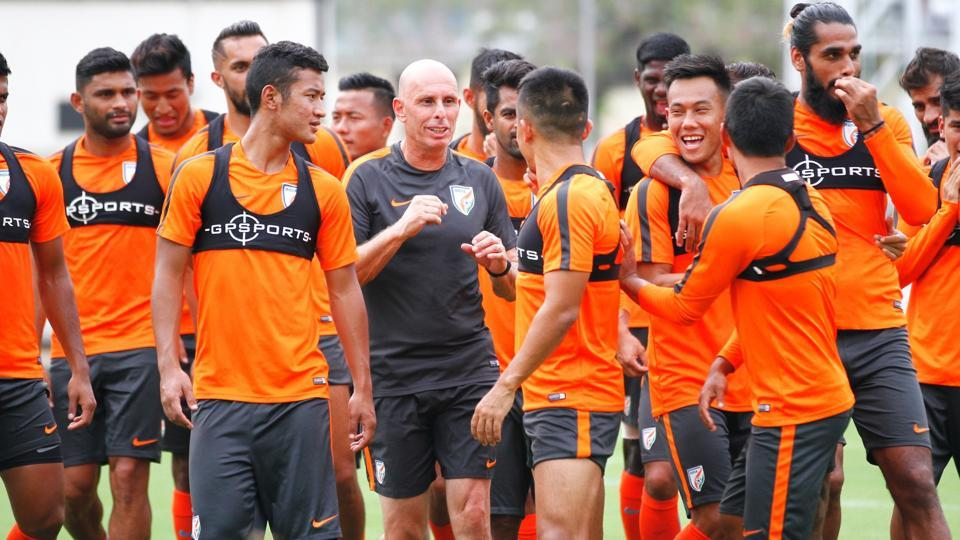 Indian football team with former coach Stephen Constantine (in black).