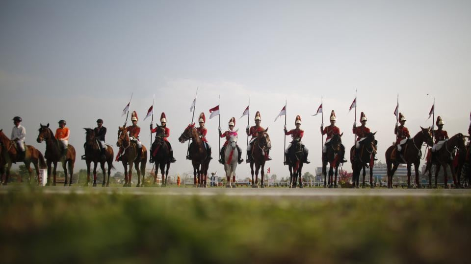 Nepalese cavalry soldiers rehearse for the Ghoda Jastra festival in Kathmandu, Nepal. Nepal's president, top officials and diplomats gathered recently at army grounds in central Kathmandu for an annual horse festival that marks the slaying of the Hindu Gurumapa demon. (Niranjan Shrestha / AP)