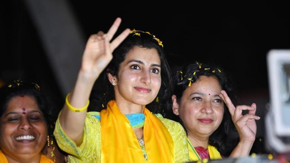 Nara Brahmani, daughter-in-law of TDPpresident and Andhra Pradesh chief minister NChandrababu  Naidu at an election campaign in Mangalagirifor her husband Nara Lokesh.