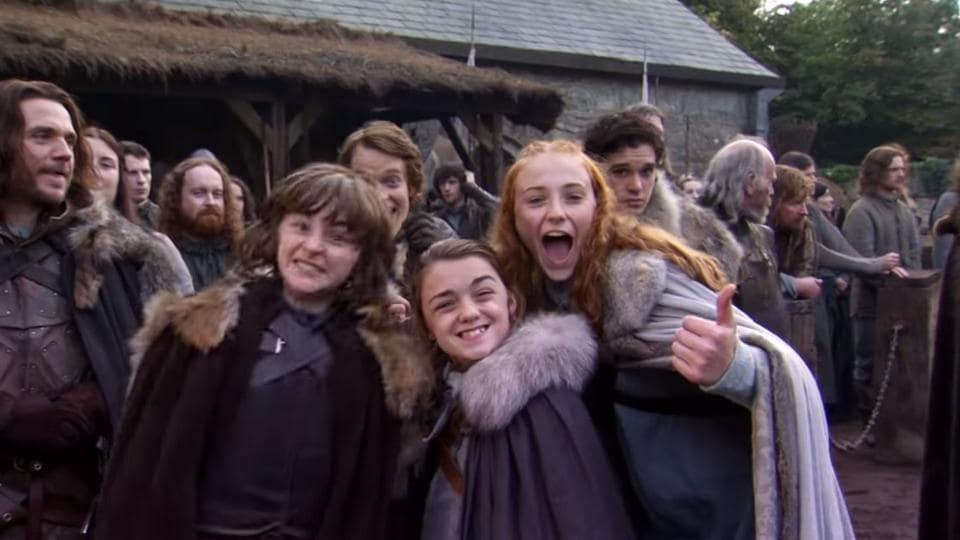 Isaac Hampstead-Wright, Maisie Williams, Sansa Stark and Alfie Allen during season one of Game of Thrones.