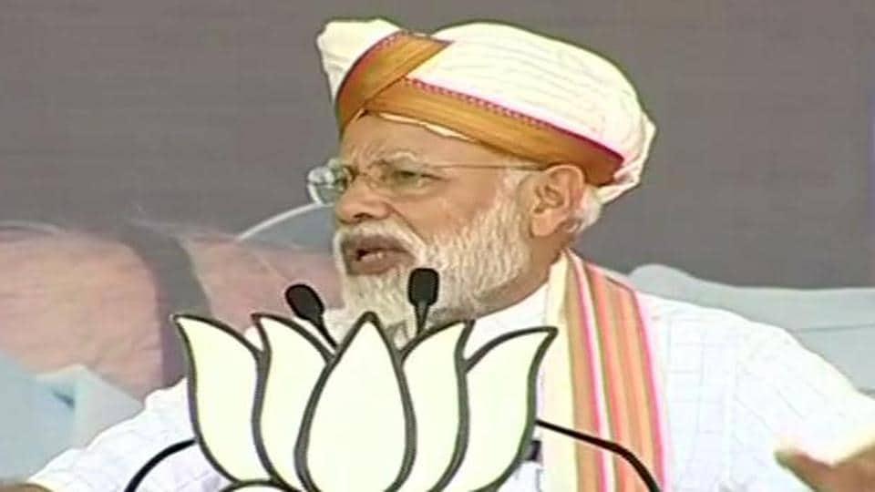Prime Minister Narendra Modi addressing an election rally at Latur in Maharashtra.