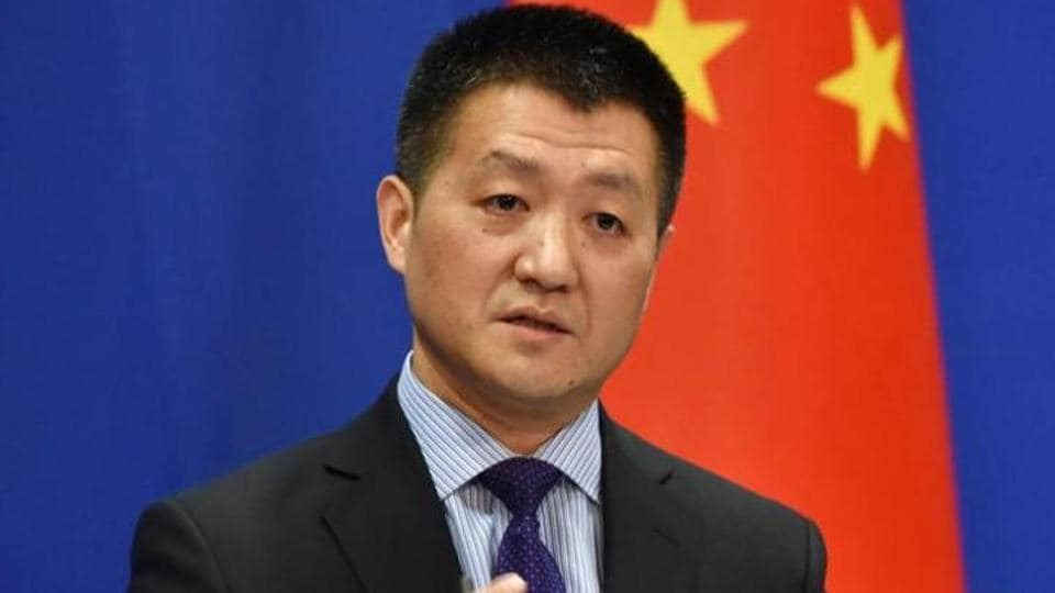 China's Ministry of Foreign Affairs spokesman Lu Kang speaks during a briefing in Beijing.