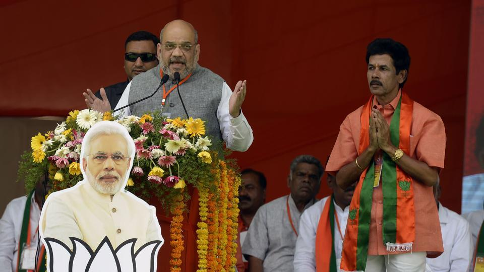 BJP  president Amit Shah addresses a rally in Hyderabad. on Tuesday ahead of the national elections  on April 11.