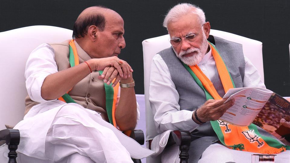 Prime minister Narendra Modi with home minister Rajnath Singh.