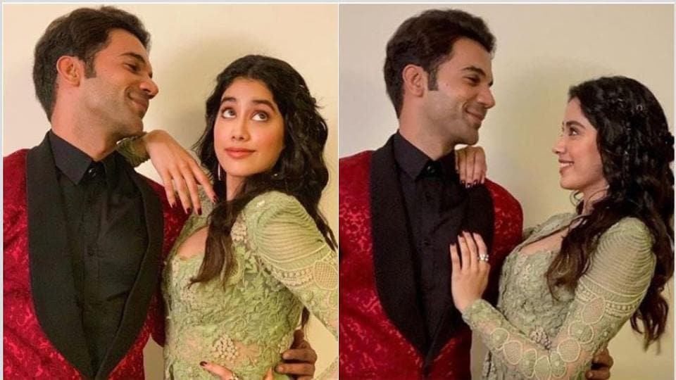 Rajkummar Rao and Janhvi Kapoor posed together at the Filmfare event in Dubai recently.