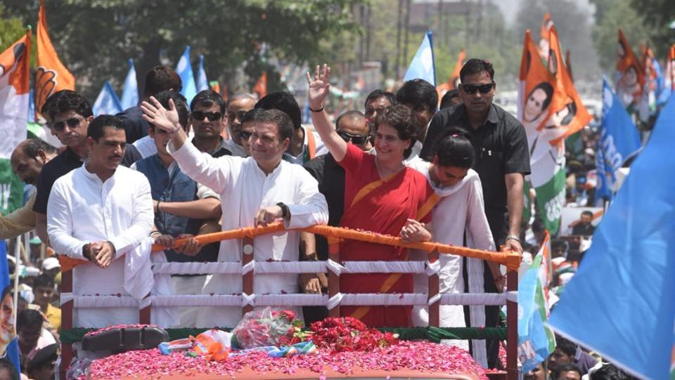 Congress president Rahul Gandhi led a 3-km roadshow from Gauriganj, Uttar Pradesh. He rode on the rooftop of a truck along with Priyanka and Robert Vadra. Their son Raihan and daughter Miraya were also present. There after Rahul Gandhi filed his nomination papers for the Lok Sabha elections from his traditional stronghold of Uttar Pradesh's Amethi. (Subhankar Chakraborty / HT Photo)