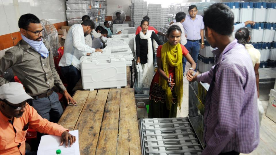 Ranchi, India - April 1, 2019: Electronic voting machine(EVM) and VV- PAT units being arranged for the Lok Sabha election at strong rooms situated inside the Birsa Munda football stadium premises in Ranchi, India, on Monday, April 1, 2019. (Photo by Diwakar Prasad/ Hindustan Times )