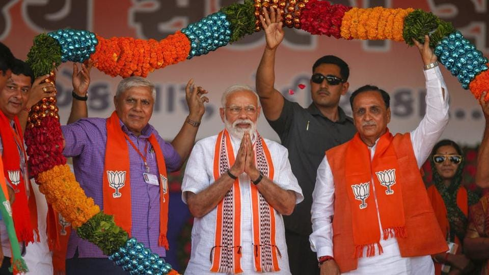 "Prime Minister Narendra Modi invoked Gujarati pride at an election rally in Junagarh to target the Congress saying that the party has always harboured ""hatred towards Gujarat"". Modi said the ""Nehru-Gandhi family of the Congress"" first targeted Sardar Patel and Morarji Desai ""using all kinds of abuses"". He also said that the Congress is unnerved at the success of the Modi government. (PTI)"