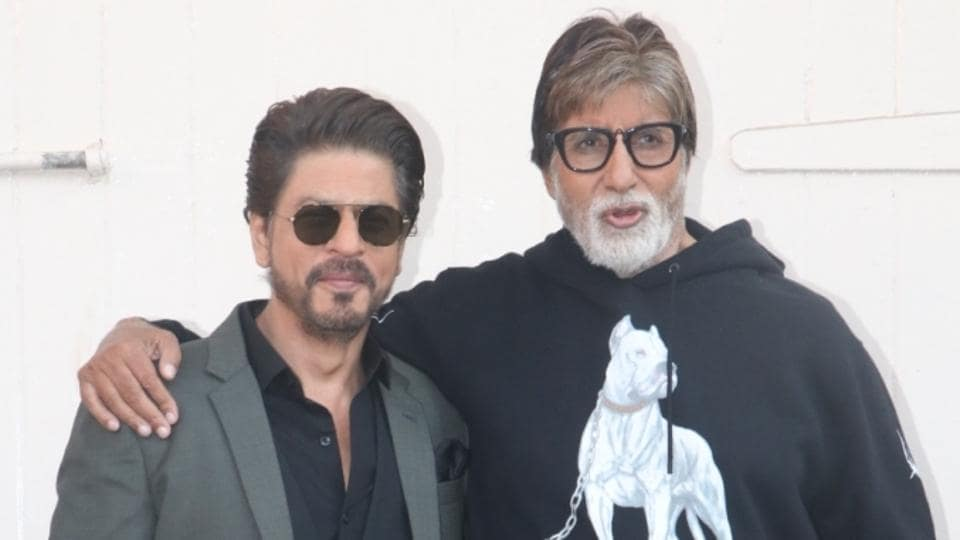 Actors Amitabh Bachchan and Shah Rukh Khan during the promotions of Badla in Mumbai.