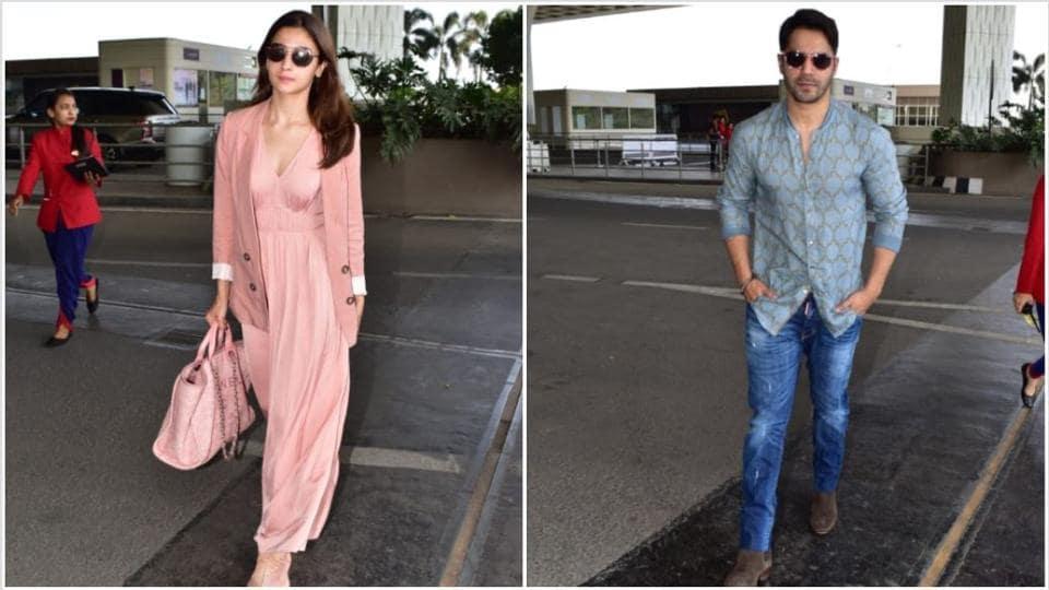 Alia Bhatt and Varun Dhawan at the Mumbai airport.