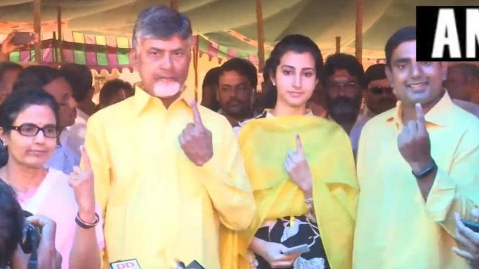 Andhra Pradesh Chief Minister N Chandrababu Naidu after casting vote along with his family in Amravati on Thursday.