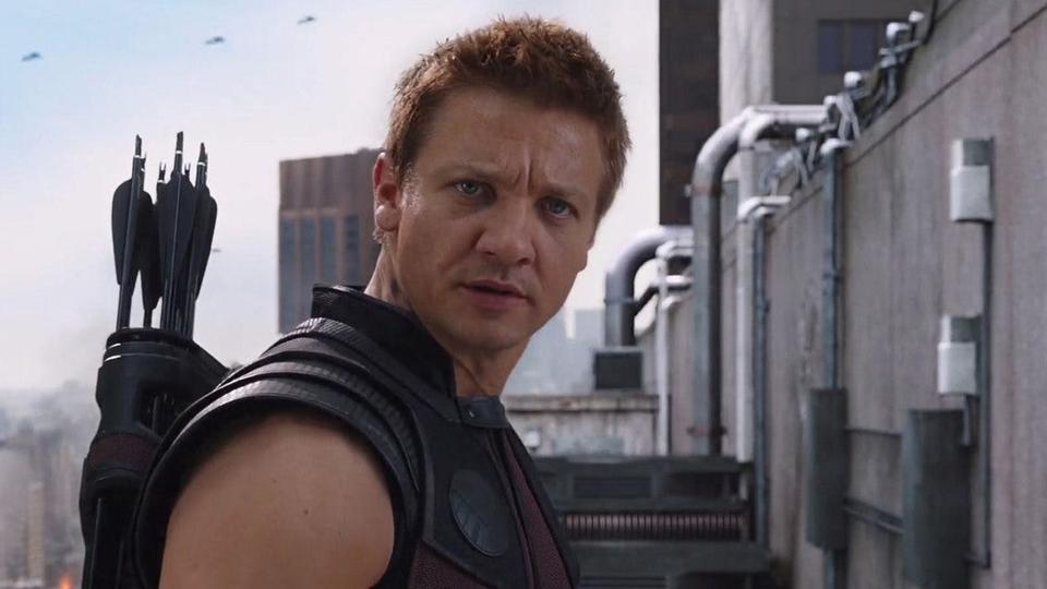 Jeremy Renner as Hawkeye/Clint Barton in a still from the Avengers.