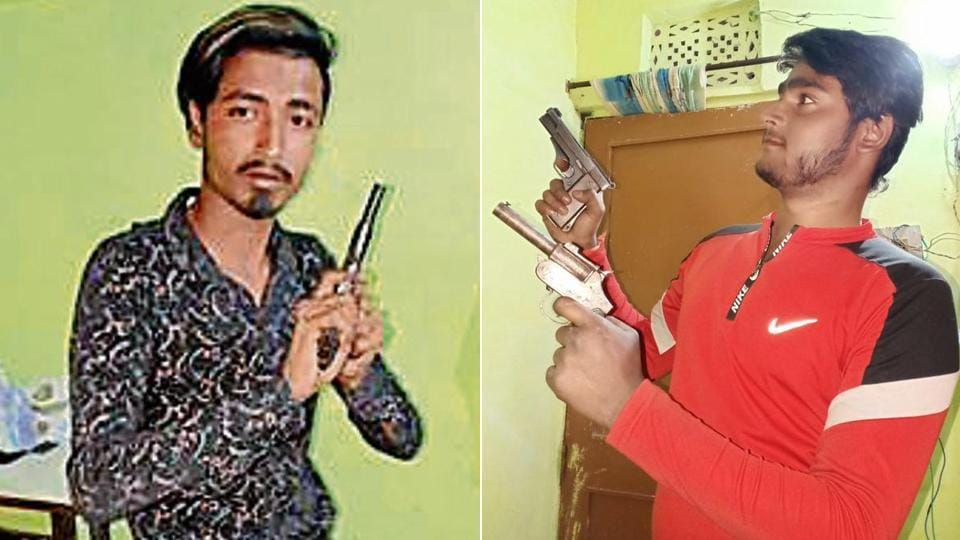 Asif (Left) and Sahil posted these photos of themselves holding illegal weapons on a messaging app.