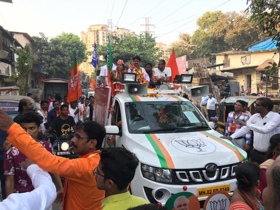 Manoj Kotak campaigning in Bhandup on Thursday