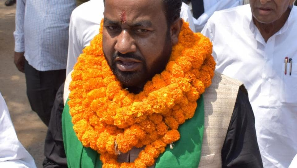 RJD candidate for Palamu parliamentary constituency Guran Ram going file his nomination for the Lok Sabha election at district collectoriate in Daltonganj on Saturday