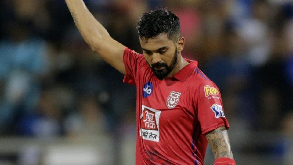Kings XI Punjab's KL Rahul celebrates his century during the VIVO IPL T20 cricket match between Mumbai Indians and Kings XI Punjab in Mumbai, India, Wednesday, April 10, 2019