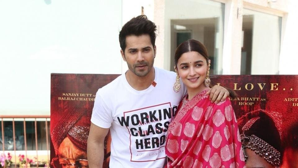 Actors Alia Bhatt and Varun Dhawan during the promotions of their upcoming film Kalank in Mumbai.
