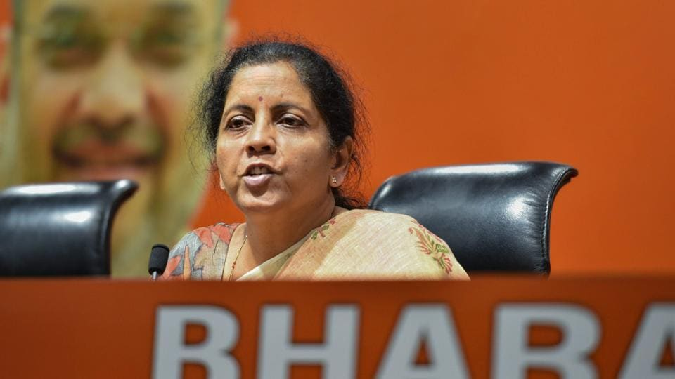 New Delhi: Defence Minister Nirmala Sitharaman addresses a press conference, in New Delhi, Thursday, April 11, 2019.