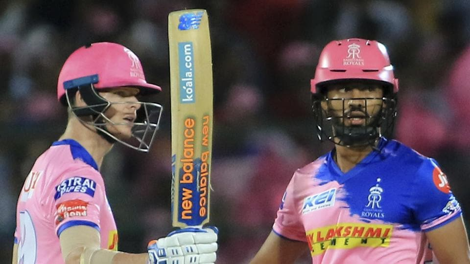 Rajasthan Royals' Steve Smith celebrates his fifty during an IPL match.