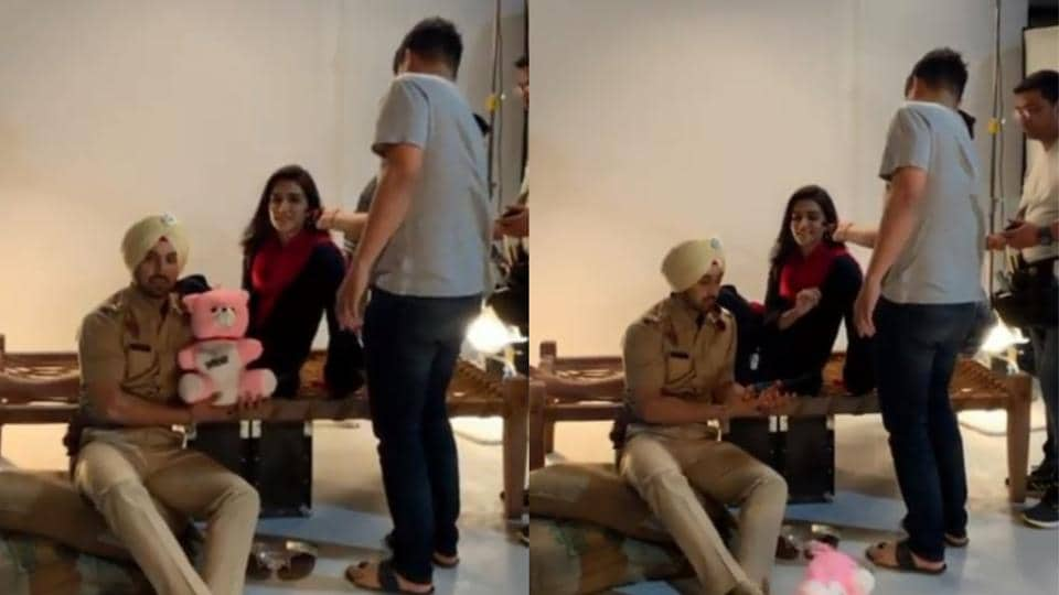 Kriti Sanon having fun with Diljit Dosanjh on sets of Arjun Patiala.