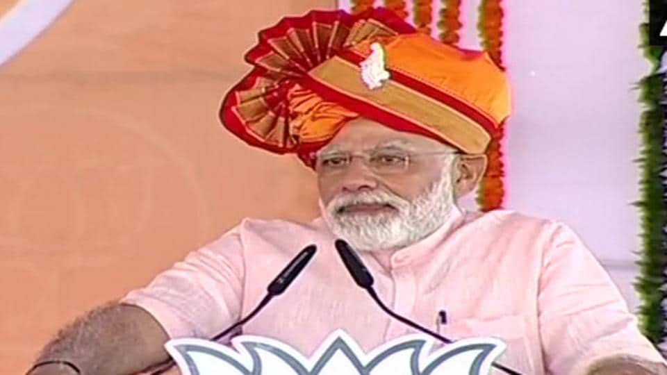 Prime Minister Narendra Modi addressing an election rally at Ahmedanagar in Maharashtra on Friday.
