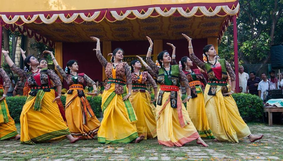 Dancers perform on Rabindra sangeet as part of Pohela Boishakh celebrations.