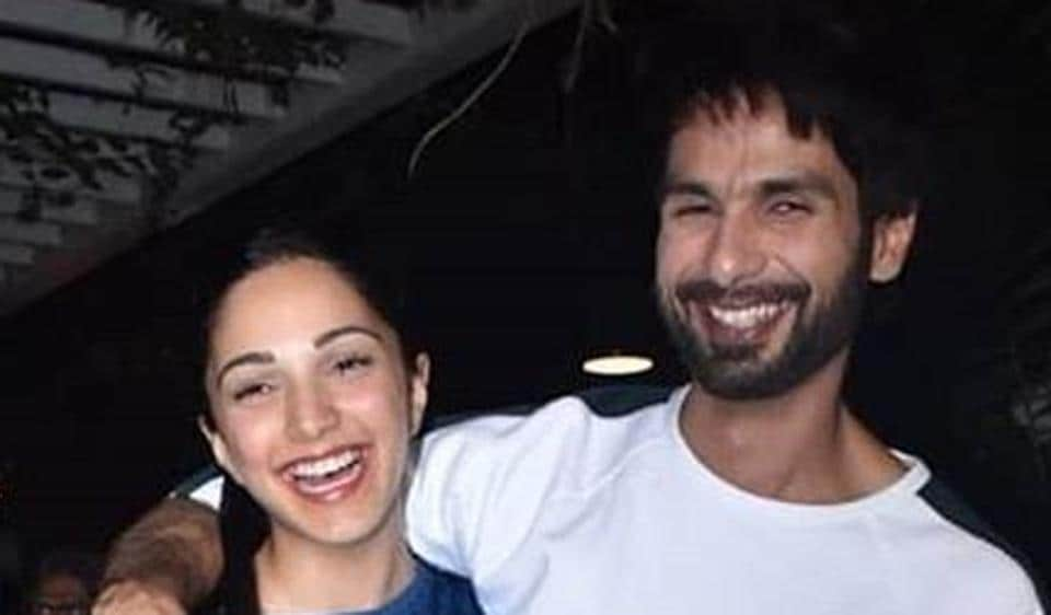 Kiara Advani and Shahid Kapoor pose for shutterbugs as they celebrate the wrap up of Kabir Singh shooting.
