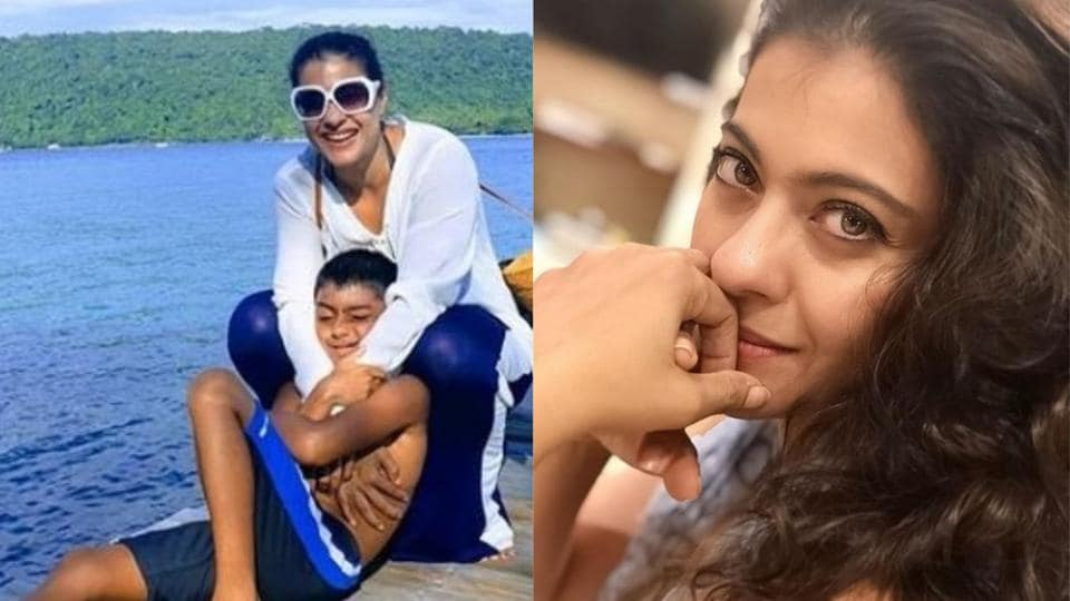 Kajol's son Yug clicked her picture on the right.