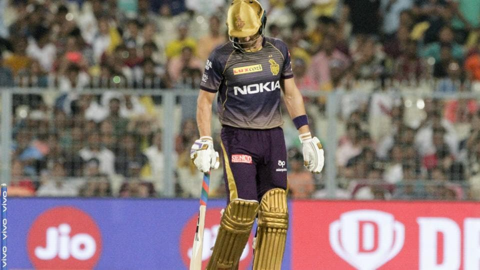 Kolkata Knight Riders' Joe Denly walks back after he is bowled out. (AP)