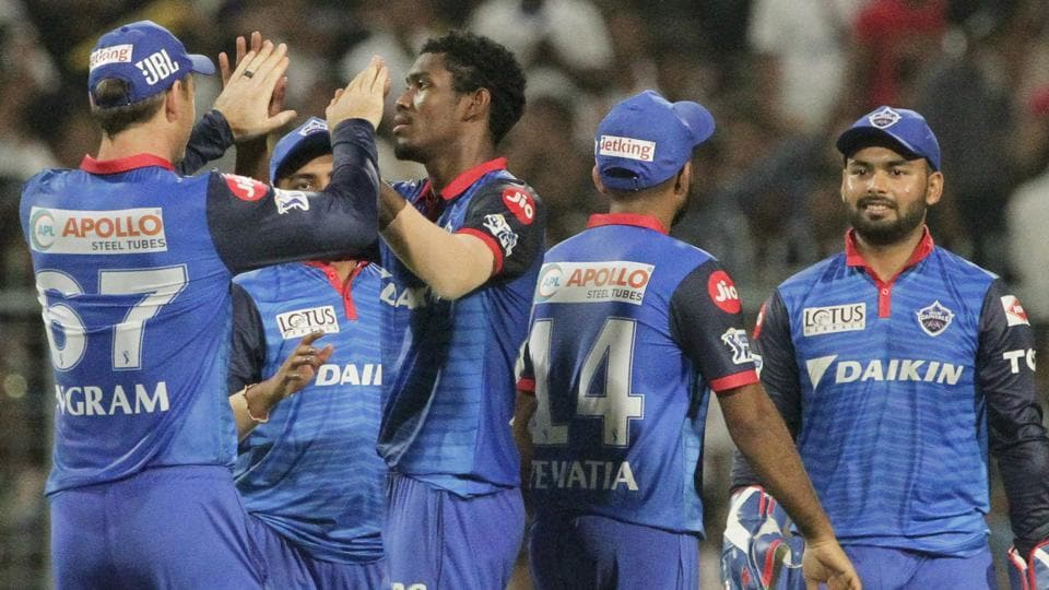 Delhi Capitals' Keemo Paul, second left celebrates with teammates after dismissing Kolkata Knight Riders' Shubman Gill. (AP)