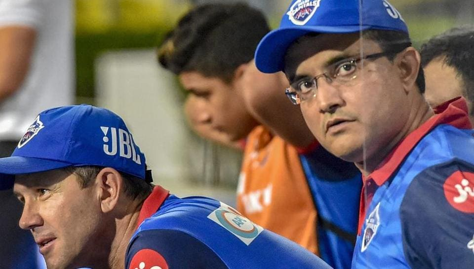 Sourav Ganguly and Delhi Capitals head coach Ricky Ponting during the Indian Premier League 2019.