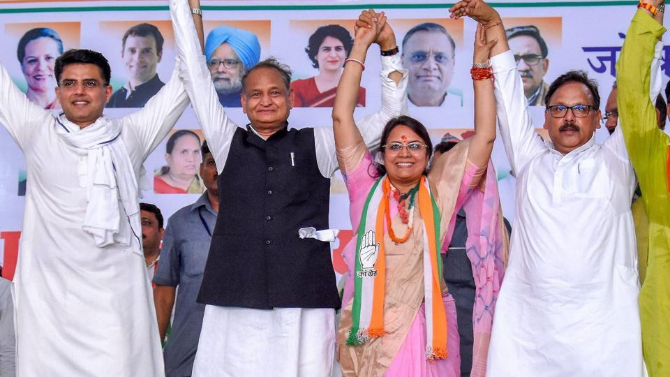 Rajasthan Chief Minister Ashok Gehlot, deputy Chief Minister Sachin Pilot at an election campaign rally in favour of Congress candidate Jyoti Khandelwal, in Jaipur, Thursday, April 11, 2019.