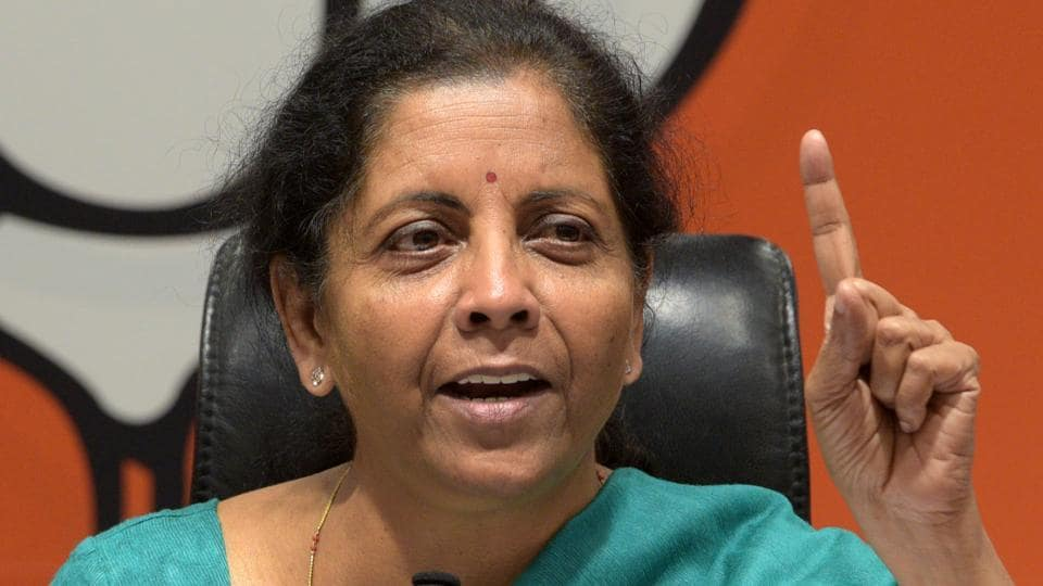 Defence Minister and BJP leader Nirmala Sitharaman speaks to media during a press conference, at BJP Headquarters, in New Delhi, India