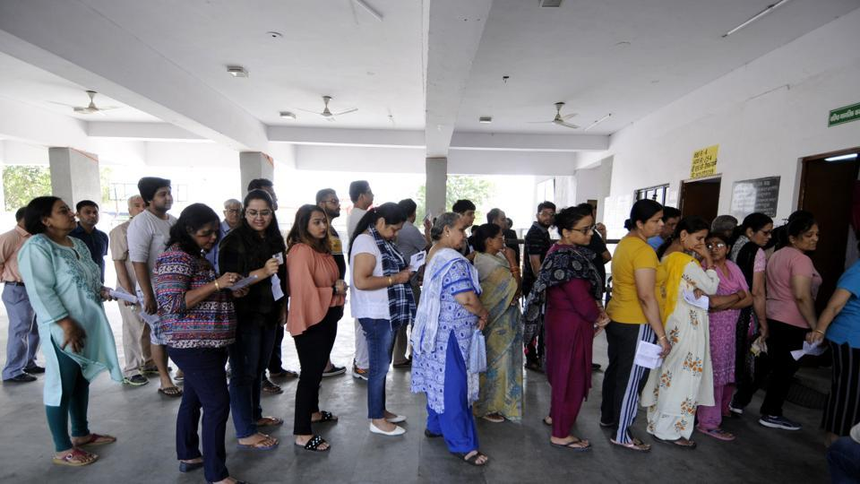 Noida, India - April 11, 2019: Voters lined up at community centre in Sector 19 early in the morning to cast their votes, in Noida, India, on Thursday, April 11, 2019.