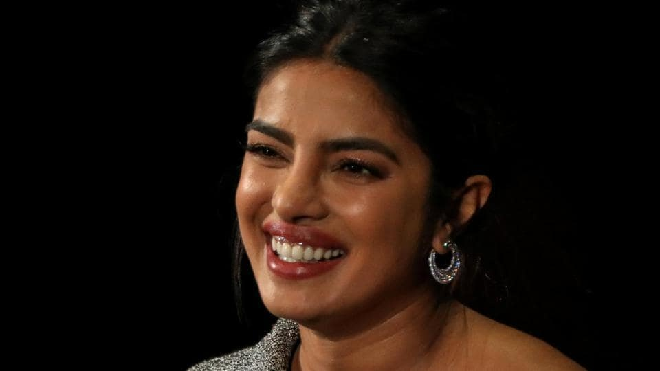 Actor and UNICEF Goodwill Ambassador Priyanka Chopra Jonas, speaks on stage at the Women In The World Summit in New York, U.S, April 11.