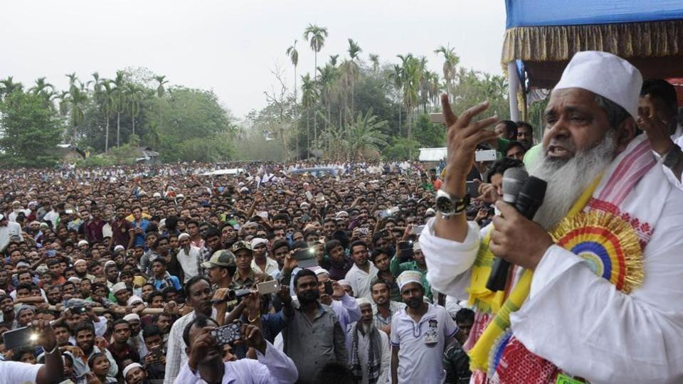 All India United Democratic Front Badruddin Ajmal  at an election rally at Gossaingaon , Assam.