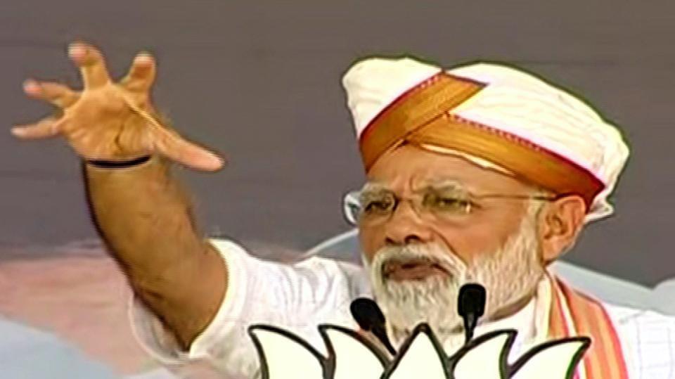 Prime Minister Narendra Modi addressing an election public meeting in Latur, Maharashtra on Monday.
