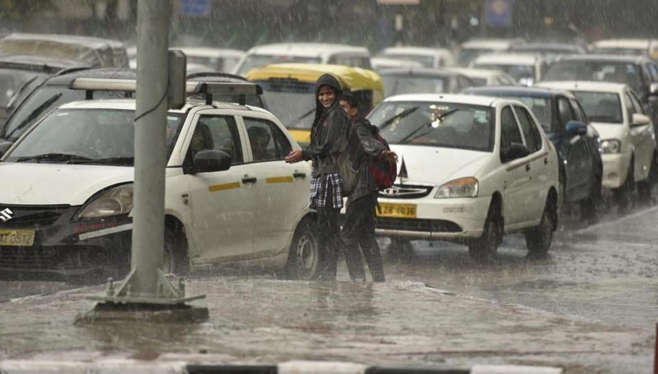 Rain and thundershowers lash parts of Delhi-NCR, India.